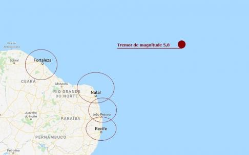 Tremor de terra é registrado na costa do Nordeste